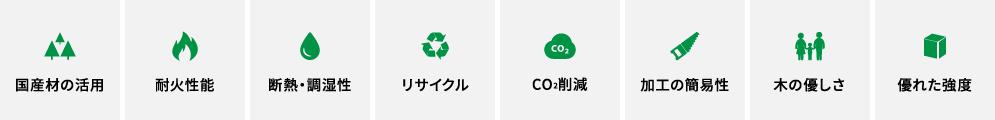 国産材の活用、耐火性能、断熱・調湿性、リサイクル、CO2削減、加工の簡易性、木の優しさ、優れた強度